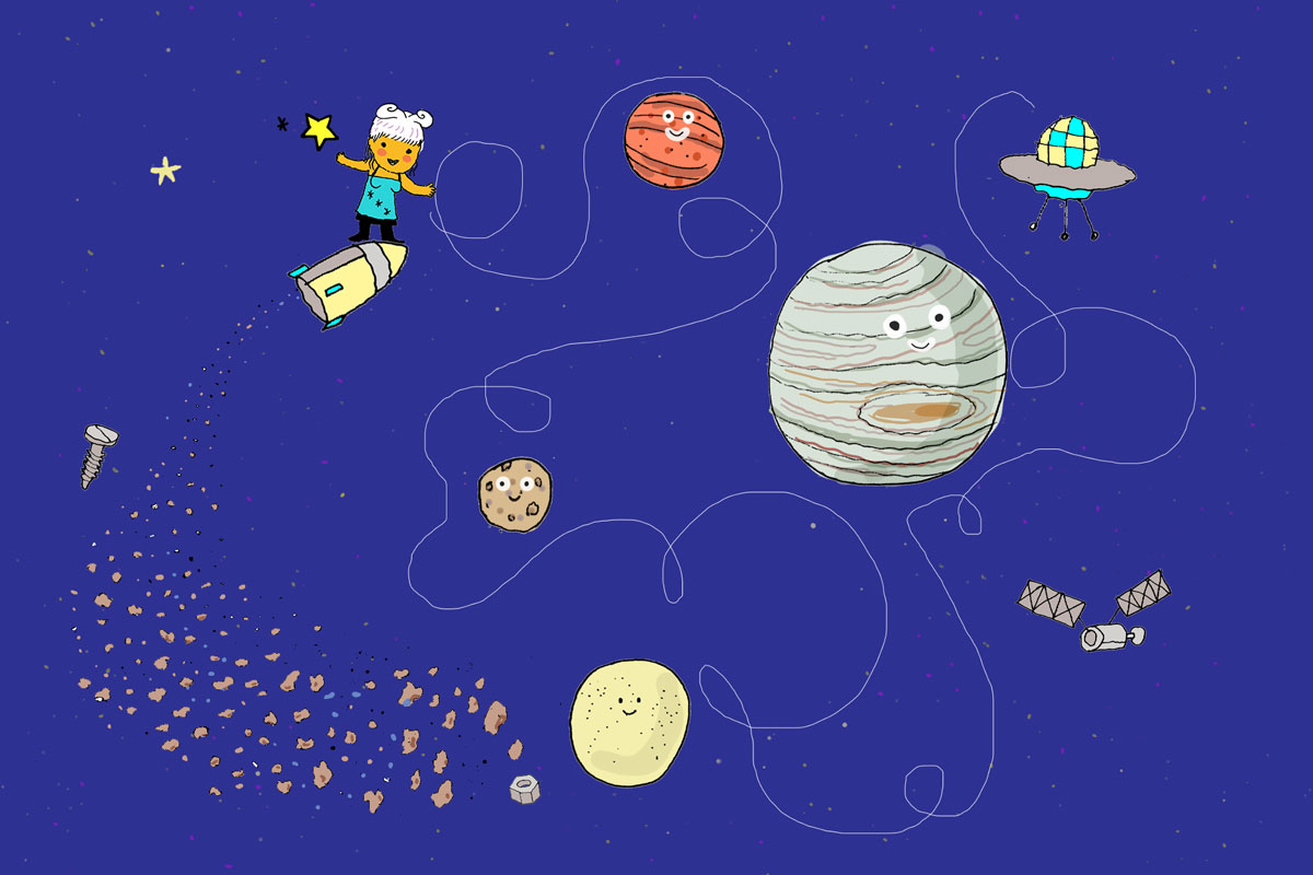 astronza in cielo tra i pianeti